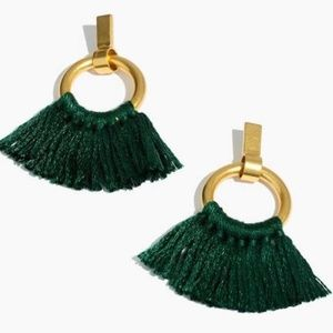 NWT Madewell Tassel Hoop Earrings in Green